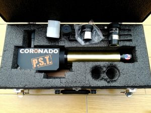 The society's Personal Solar Telescope in its case