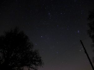Auriga with the Pleiades and Perseus, pictured from Tong, in January