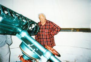 Patrick Moore visiting David's observatory in 1994
