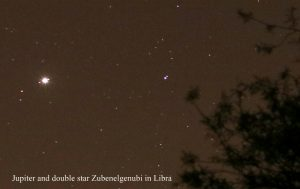 Jupiter and double star in Libra
