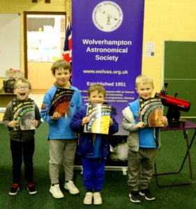 Some of the Beavers with books about the planets