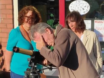Observers using the society's Coronado solar scope