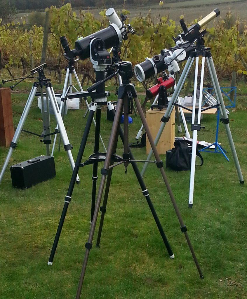 Telescopes set up for transit of Mercury