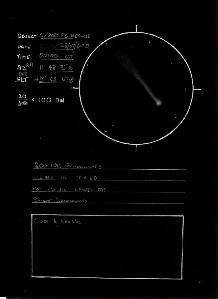 Comet Neowise sketch by Trevor Clifton